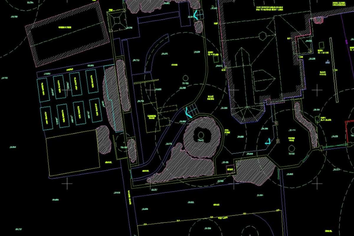 screenshot of a topographical survey CAD drawing