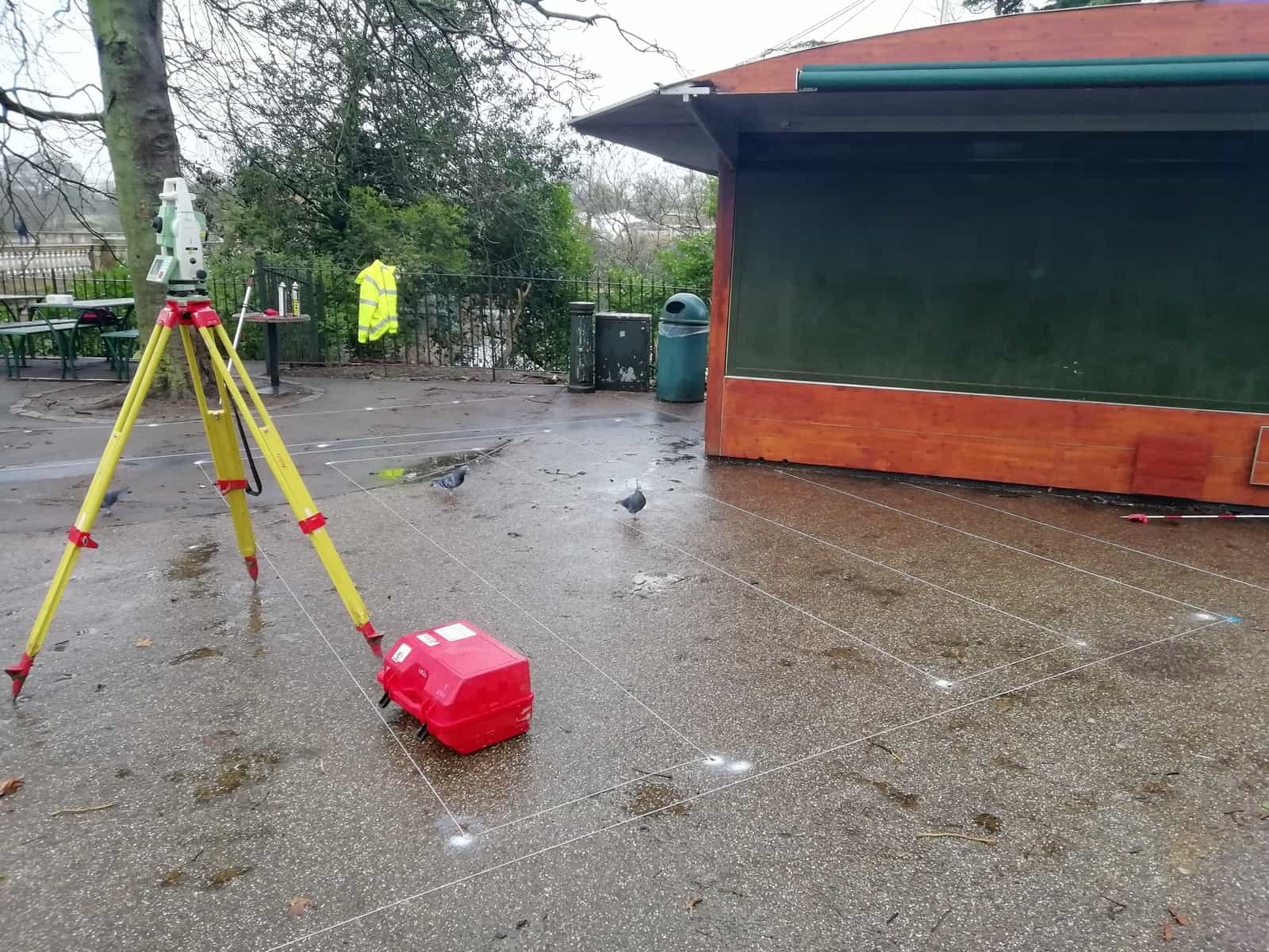 total station on setting out survey in Hyde Park