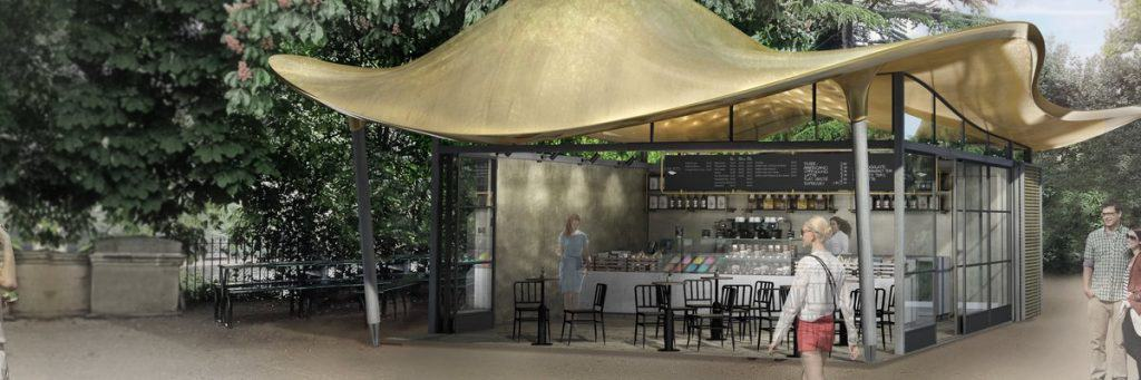 Proposed design of new cafe in Hyde Park London