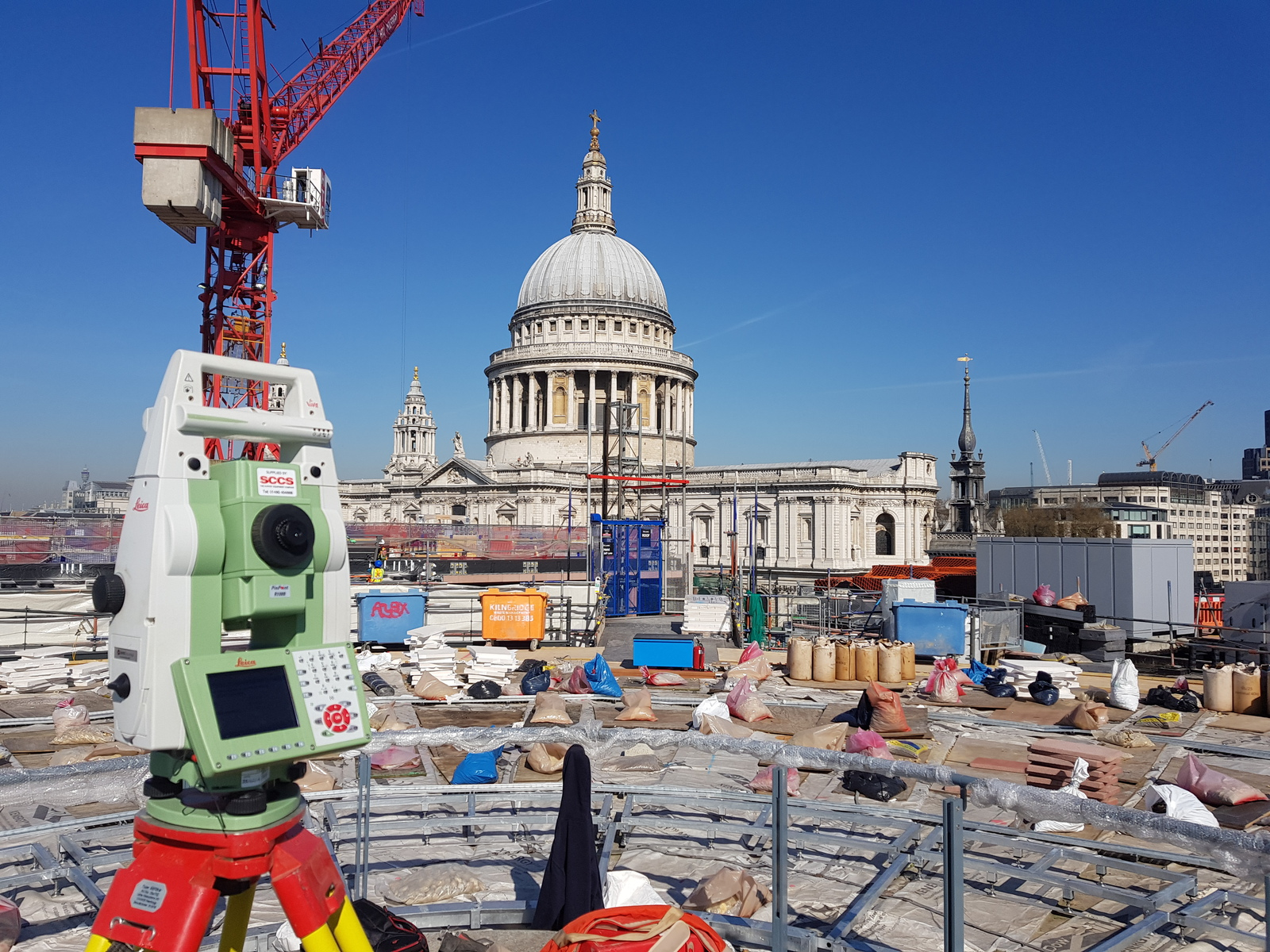 total station setting out near St Paul's Cathedral, London