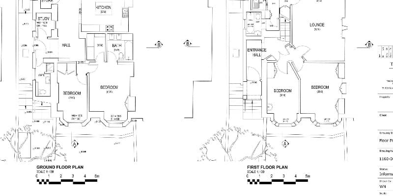 Floor plan drawing example in CAD