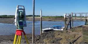 Flood risk survey using a leica total station