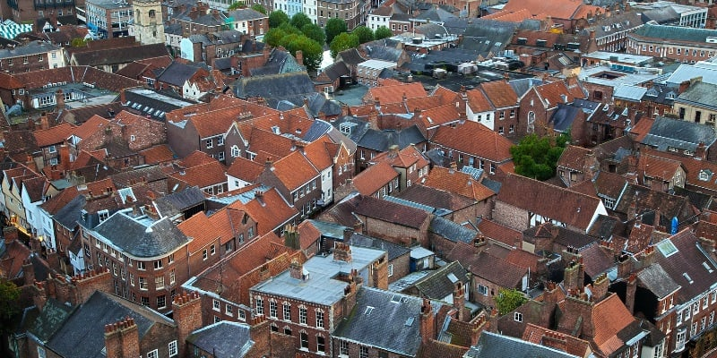 Aerial image of a roof tops