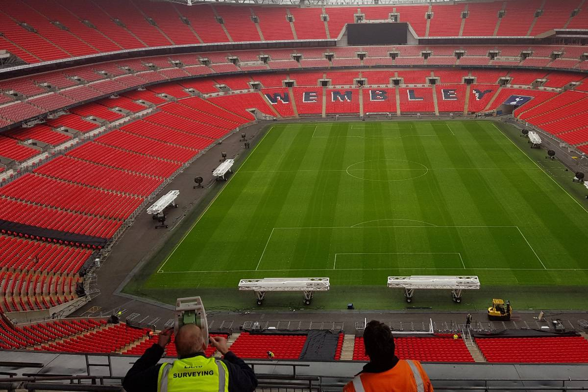 Wembley stadium surveying with a total station