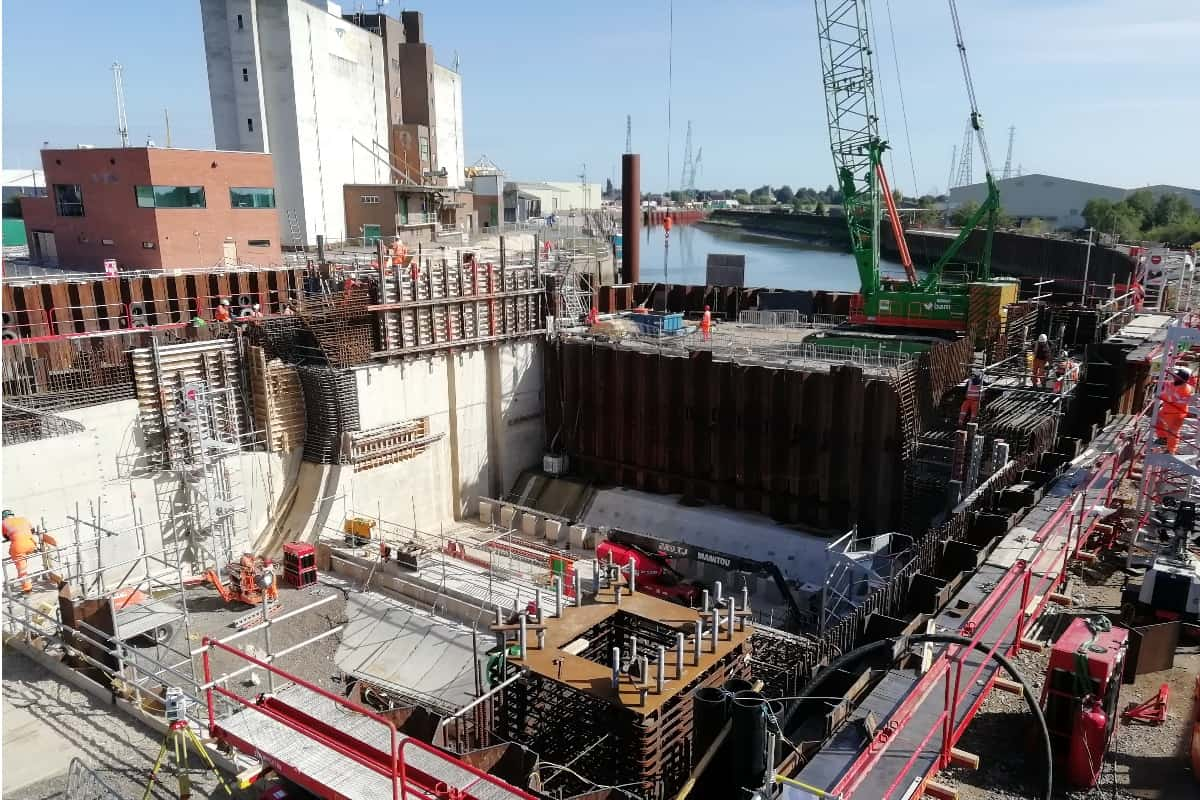 Boston flood barrier being built.