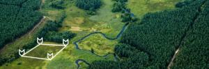 Measuring land aerial photo.