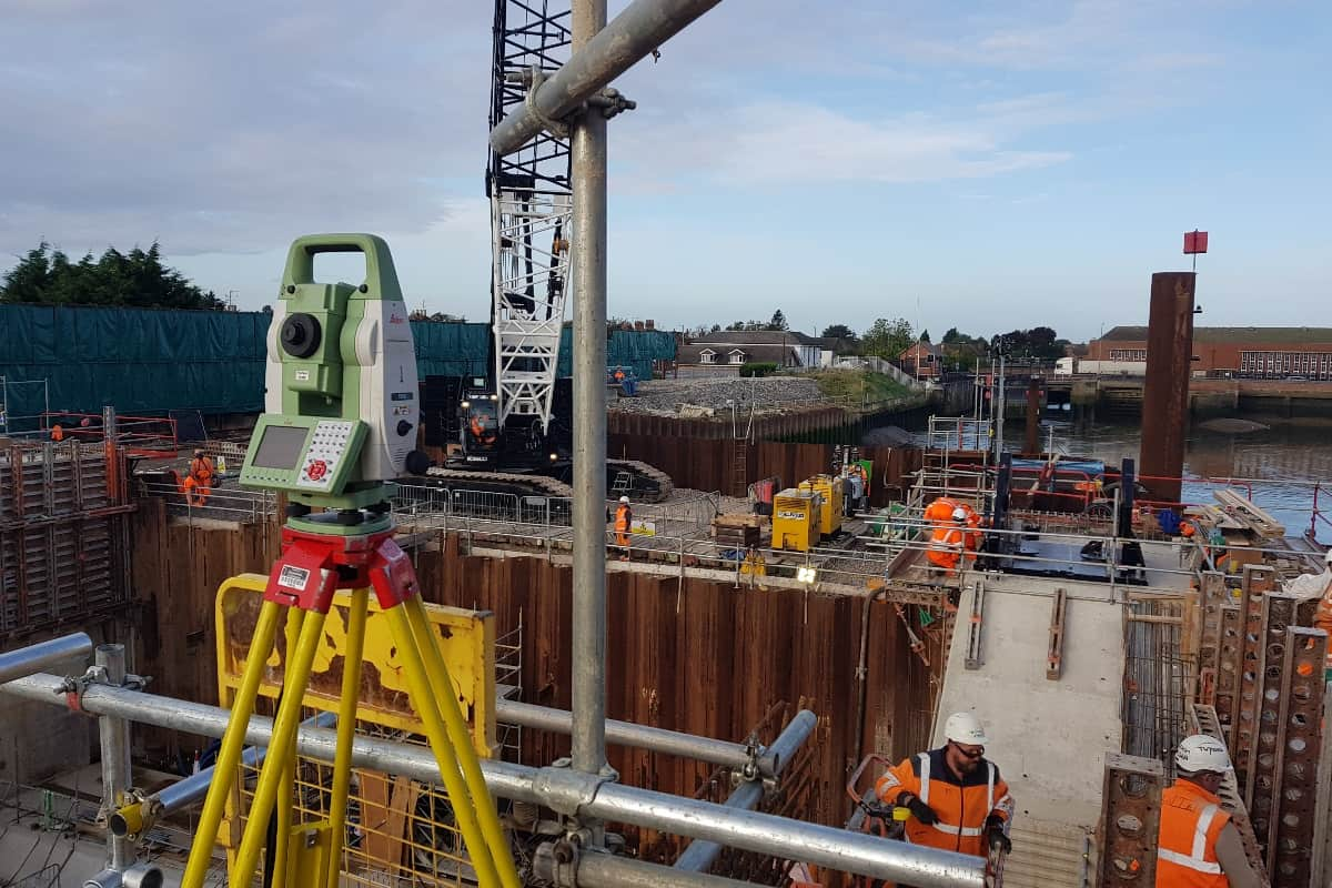 total station surveying at the Boston Barrier job.