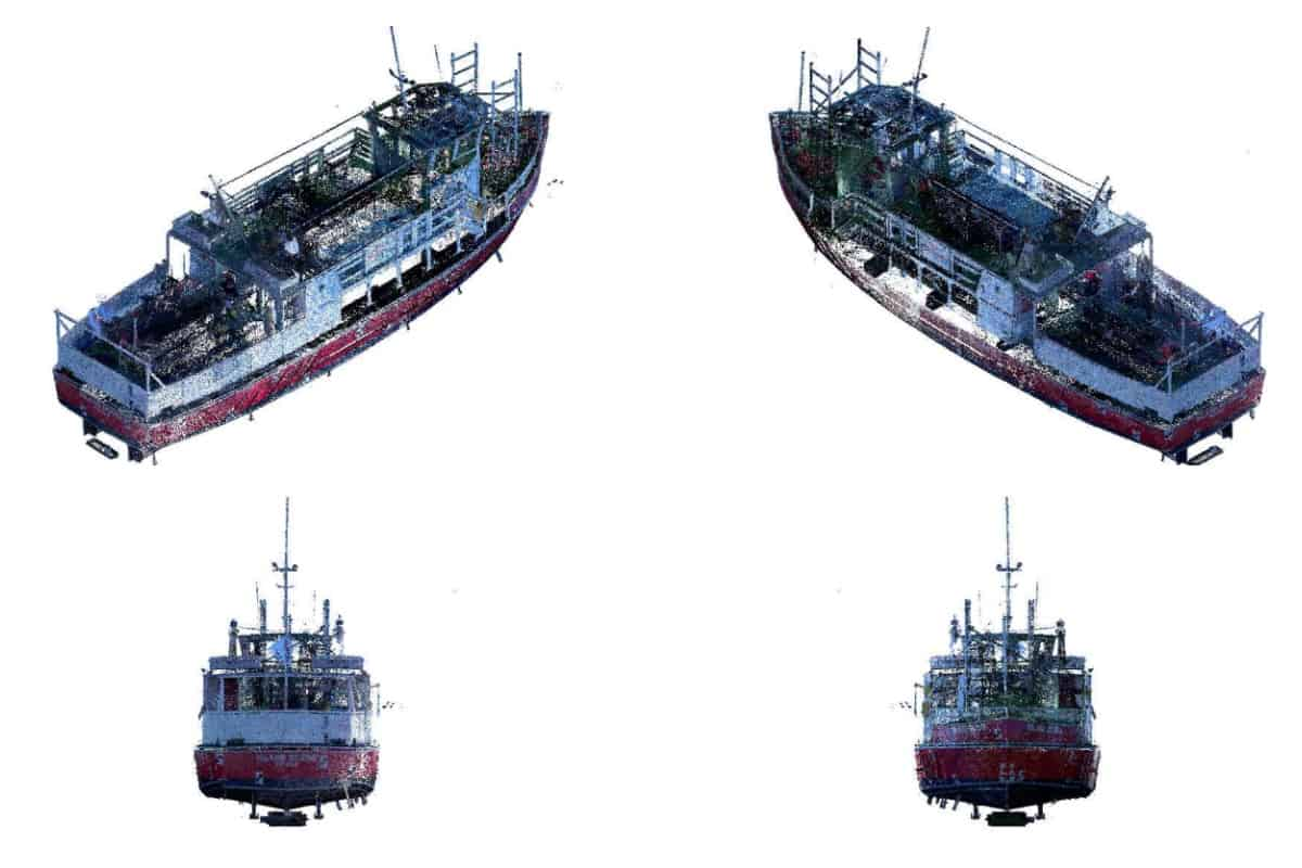3D point cloud isometric view of a boat