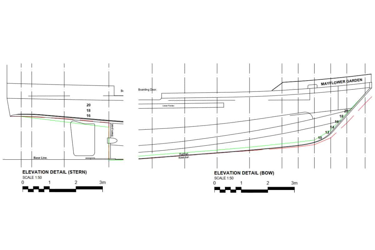 Lines plan for naval architecture project