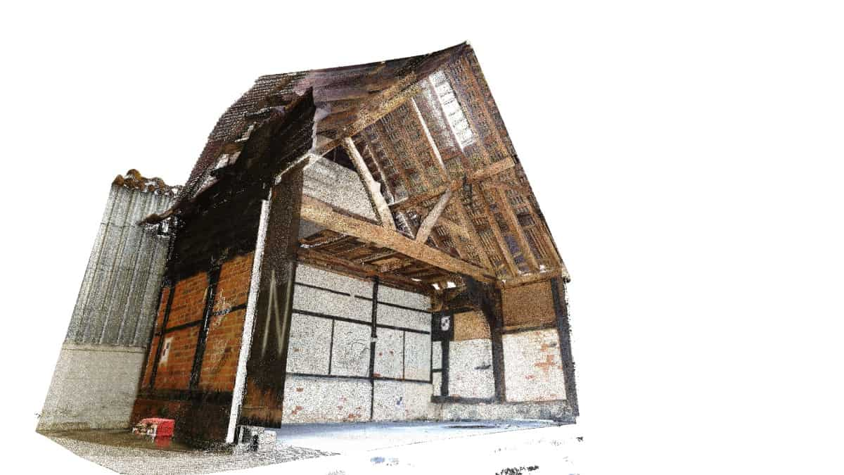 3D scanning an old barn, section view.
