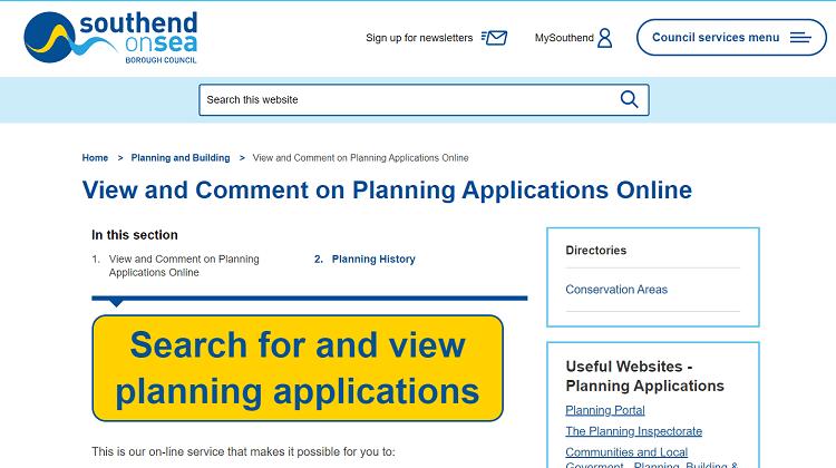 Southend Council Planning Application Website
