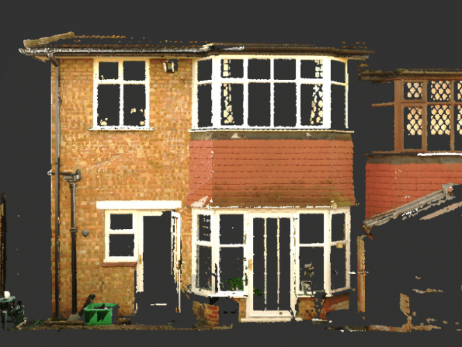 Point cloud of a house rear elevation